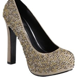 Dolce Vita Taupe Brenna Leather Studded Heels 7.5